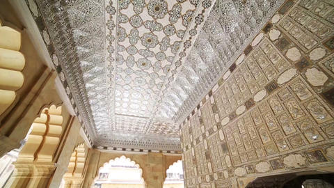 Interior Of Amber Fort stock footage