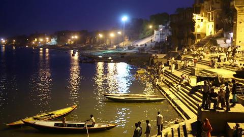 Night scene in Varanasi Footage