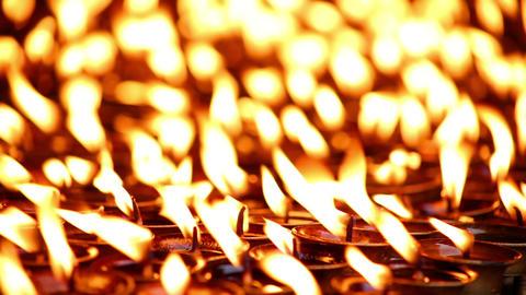 Candles burning at Boudhanath, Kathmandu, Nepal Footage