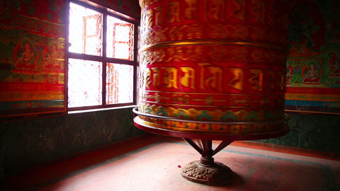 Prayer wheel at Boudhanath, Kathmandu, Nepal Footage