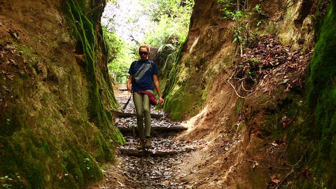 Female caucasian tourist trekking walking at himal Footage
