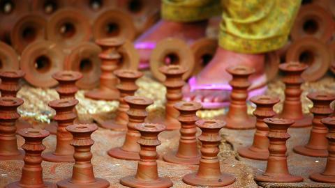 Bhaktapur Pottery Square, Kathmandu, Nepal Footage
