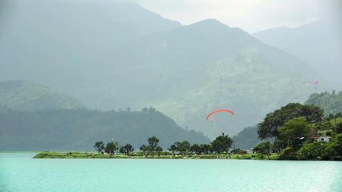 Paragliding over Pokhara Lake, Nepal Footage