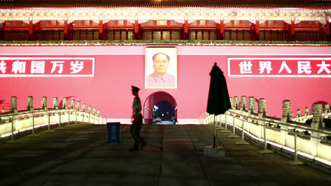 Beijing, Tiananmen Square at night Footage