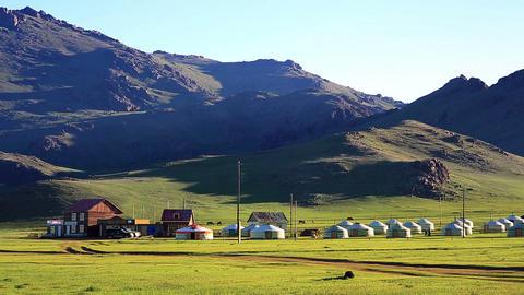Yurt settlements, Terkhiin Tsagaan Lake, central m Footage