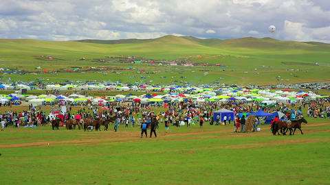 Colorful crowd at Naadam festival area Footage