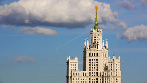 Stalinist era building in Moscow Live Action