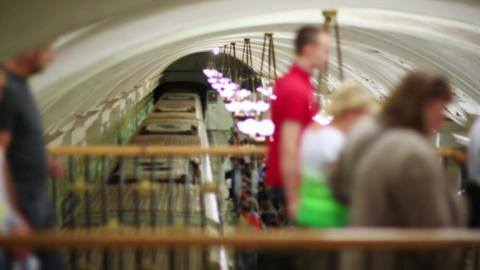 Daily Life Moscow Metro Passengers stock footage