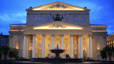 Bolshoi Theatre at twilight, Moscow Footage