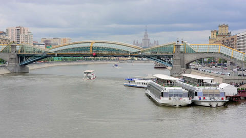 Moskva River view with Stalinist era building, Mos Footage