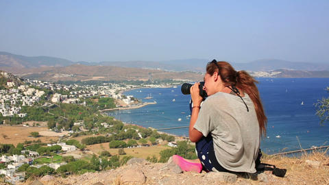 Girl Taking Picture In Bodrum stock footage