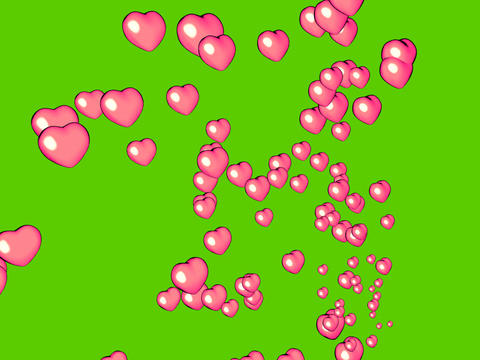 render of floating hearts passing by on green Stock Video Footage