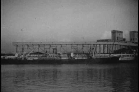 Shots of Seattle in 1947 including shipbuilding, m Footage