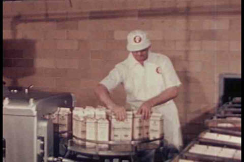 The making of ice cream at the factory in 1948 Stock Video Footage