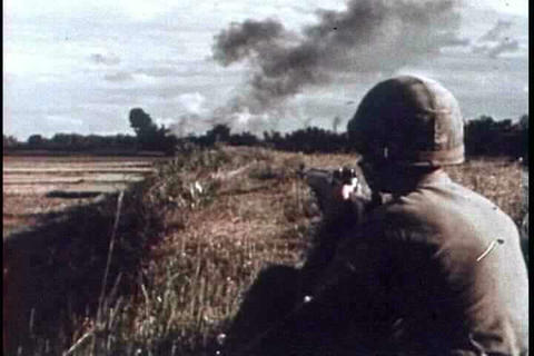 Ground fighting and patrols in Vietnam in 1965 wit Footage