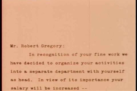 A man gets a letter announcing his promotion to ex Footage