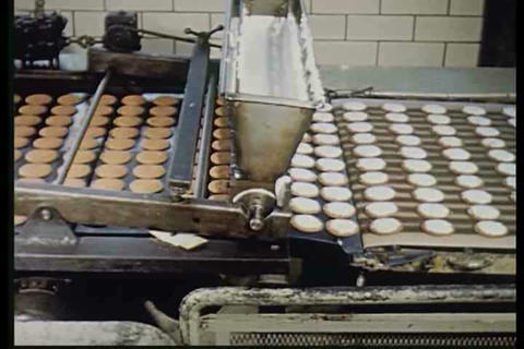 Cookies are made in a factory in 1950 Footage