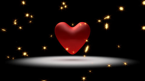 Big, red pulsing heart and stars Animation