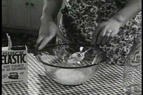 Quick elastic starch commercial from 1936 Footage