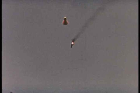 Space Capsule Drops To Earth After A Successful Mi stock footage