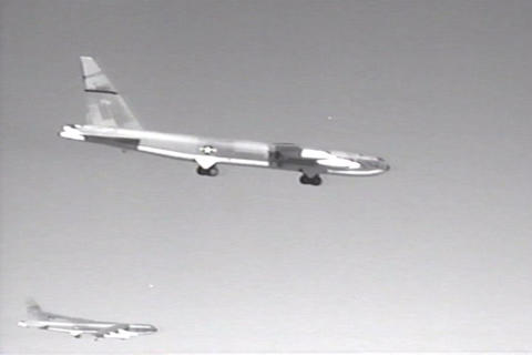 B-52 Landing On Runway stock footage