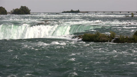 Top of Niagara Falls, before the water falls (High... Stock Video Footage