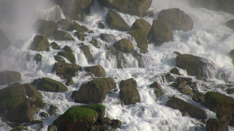 Close-up of the rocks at the bottom of Niagara Falls Footage