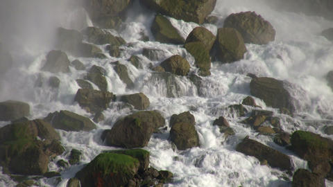 Close-up of the rocks at the bottom of Niagara Falls Stock Video Footage