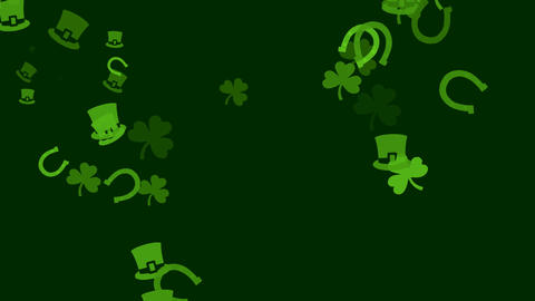 Various Irish symbols are drifting across screen (high definition 1080p) 動畫