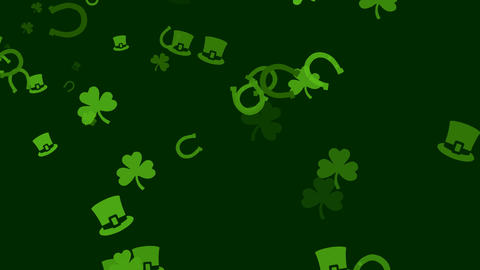 Various Irish symbols are drifting across screen (high... Stock Video Footage