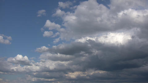 Timelapsed clouds slowly drift amidst a blue sky (High Definition) Footage