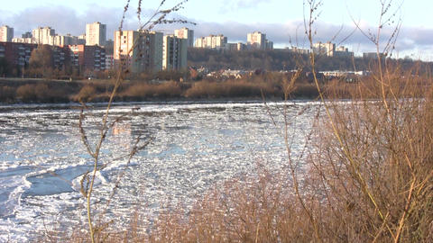 Ice drift in a river at sunset 2 Stock Video Footage