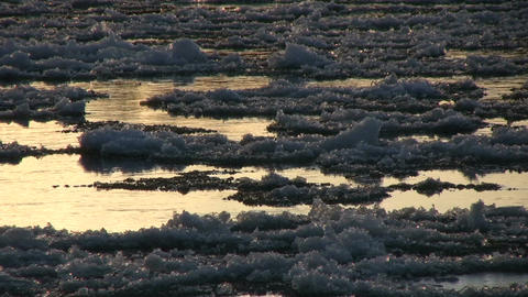 Ice drift in a river at sunset 11 Footage
