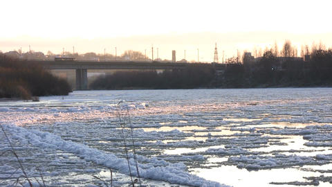 Ice drift in a river at sunset 17 Stock Video Footage