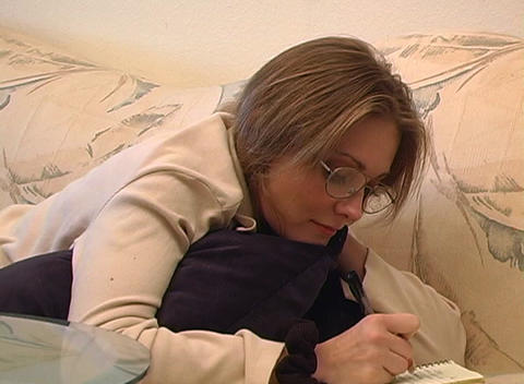 Beautiful Woman Writing Stock Video Footage