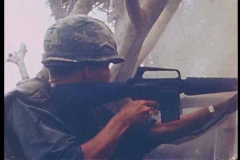 The first infantry division battles Vietcong force Footage