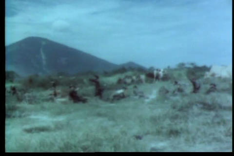 Army troops engage Vietcong forces during the Viet Footage