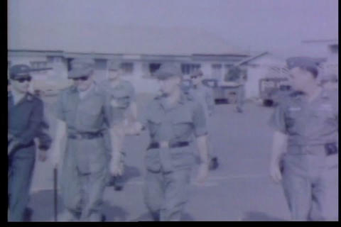 An Official Visits Several Army Bases To Meet Gene stock footage
