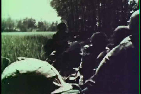 A group of Marines engage fight Vietcong forces du Footage