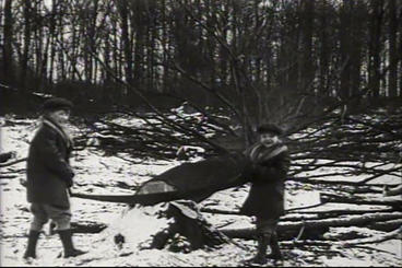 Kids Cut Down Trees In The Snow In 1927 And Transp stock footage