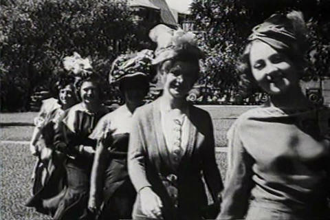 Women Wear Fashionable Hats In 1931 stock footage