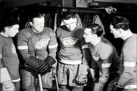 The Detroit Red Wings Play Ice Hockey In 1934 stock footage