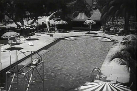 A diver on a diving board in 1941 Footage