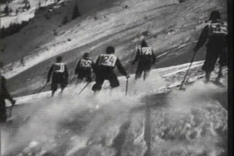 Skiing in 1941 Footage