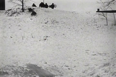 Winter snow activities in America in 1930 Footage
