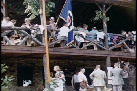 Home movies of volunteer workers doing constructio Footage