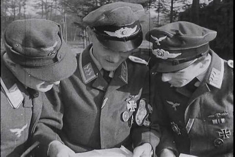 German newsreel from 1944 shows Nazi air force and Live Action