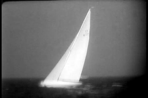 The America's Cup yacht race in 1958 Footage