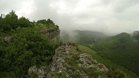 Rain in the mountains. Crimea. Ukraine. Plateau Ba Footage