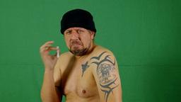 naked man smoking Footage